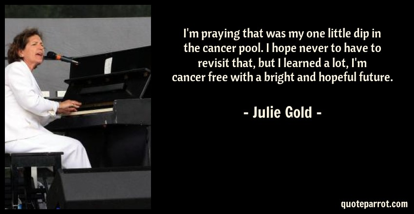 Julie Gold Quote: I'm praying that was my one little dip in the cancer pool. I hope never to have to revisit that, but I learned a lot, I'm cancer free with a bright and hopeful future.