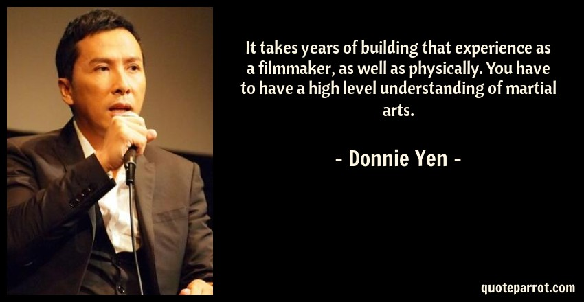 Donnie Yen Quote: It takes years of building that experience as a filmmaker, as well as physically. You have to have a high level understanding of martial arts.