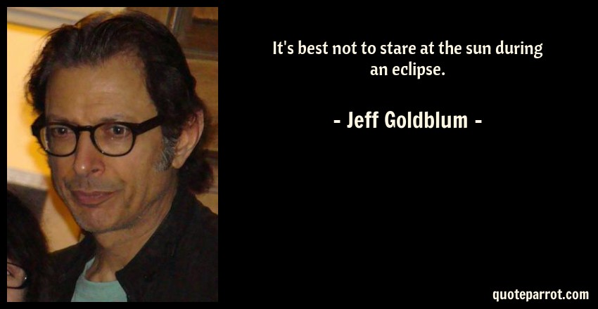 Jeff Goldblum Quote: It's best not to stare at the sun during an eclipse.