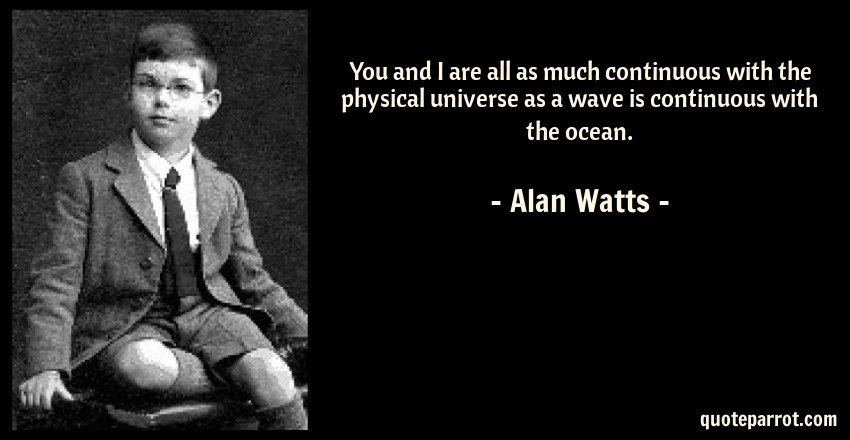 Alan Watts Quote: You and I are all as much continuous with the physical universe as a wave is continuous with the ocean.